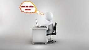 ricerca dell'uomo d'affari 3d sul web come fare soldi Fotografie Stock