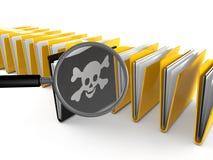 ricerca della cartella del virus 3d Fotografie Stock