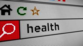 Ricerca della salute di Internet video d archivio