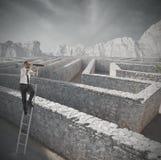 Ricerca della soluzione al labirinto Fotografia Stock Libera da Diritti