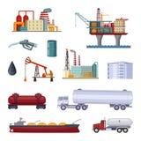 Ricerca di idrocarburi Fabbrica del petrolio con le piattaforme ed il terminale Isolato delle immagini di fabbricazione su bianco illustrazione vettoriale