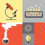 Ricerca di scienza ed illustrazione piana di chimica Fotografie Stock Libere da Diritti