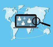 Ricerca di web del computer portatile Illustrazione di Stock