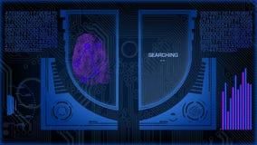 Ricerca futuristica di Digital dell'impronta digitale stock footage