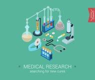 Ricerca medica isometrica piana di web di concetto di progetto 3d Fotografie Stock
