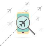 Ricerca mobile di volo Immagini Stock