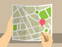 Ricerca sulla mappa Fotografia Stock Libera da Diritti