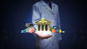 Ricercatore, ingegnere, palma aperta di medico, conto bancario della gestione, vita offline online di attività bancarie illustrazione vettoriale