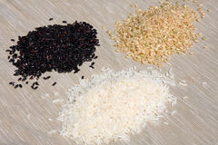 Rices. Black rices, brown rices and white rices Stock Photos