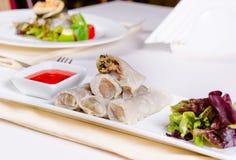 Ricetta asiatica deliziosa del rotolo di primavera Fotografia Stock