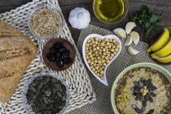 Ricetta casalinga sana di hummus Cucina del Medio-Oriente Fotografia Stock Libera da Diritti