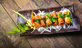 Ricetta coreana per il rotolo del riso dell'alga di Kimbap Immagini Stock Libere da Diritti