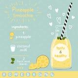 Ricetta del frullato dell'ananas Immagini Stock Libere da Diritti