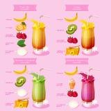 Ricetta del frullato Elemento del menu per il caffè o ristorante con la bevanda fresca energetica Succo fresco per vita sana Fotografia Stock Libera da Diritti