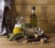 Ricetta del fungo e del latte dell'asparago del carciofo Immagine Stock Libera da Diritti