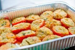 Ricetta del pangrattato del gratin dei pomodori Immagini Stock