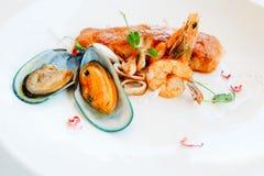 Ricetta del ristorante della prima colazione dei frutti di mare Fotografie Stock
