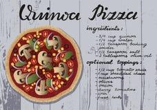 Ricetta della pizza della quinoa Fotografia Stock Libera da Diritti