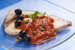 Ricetta tipica della Sicilia dei pesci spada di Messinese Fotografia Stock