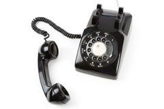 Ricevente di telefono nera Fotografia Stock