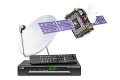 Ricevitore satellitare di Digital con il satellite ed il riflettore parabolico 3d Illustrazione Vettoriale
