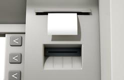 Ricevuta dello spazio in bianco di slittamento di BANCOMAT Fotografia Stock