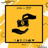 Ricezione dell'icona della pila delle banconote dei soldi I contanti impilano le banconote dei soldi Fotografia Stock