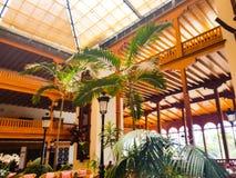 Ricezione interna di un hotel decorato con il legno nobile in stile coloniale e vegetazione tropicale fotografie stock