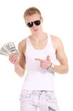 Rich adult boy. Cute young guy posing on a white Stock Photos
