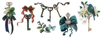 Free Rich Antique Keys, Jewelry Compositions, Brooches, Bows, Keys, Flowers, Bird Royalty Free Stock Photo - 216890555