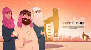 Rich Arab Business Man Oil Trade Pumpjack Rig Platform Black Wealth Concept Stock Photos