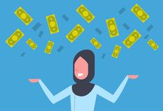 Rich Arab Business Woman Throwing Money Up Muslim Businesswoman Financial Success Concept. Concept Flat Vector Illustration Stock Image