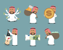 Rich arab businessman with money character set. Arab millionaire and successful businessman with money bag full of dollar banknotes, huge euro bill and dollar Royalty Free Stock Images