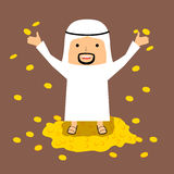 Rich Arab man illustration with golden coins Stock Photos