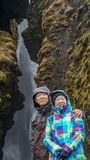 Rich Asian senior couple anniversary trip in Iceland. Rich Asian senior couple honeymoon trip in Iceland Royalty Free Stock Images