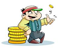 Rich banker. The rich banker who flipped the coin Stock Images