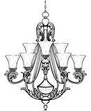 Rich Baroque Classic chandelier. Luxury decor accessory design. Vector illustration sketch Royalty Free Stock Image