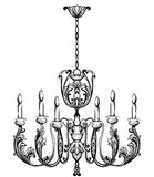 Rich Baroque Classic chandelier. Luxury decor accessory design. Vector illustration sketch Royalty Free Stock Images