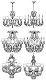 Rich Baroque Classic chandelier set. Luxury decor accessory design. Vector illustration sketch Royalty Free Stock Images