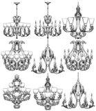 Rich Baroque Classic chandelier set. Luxury decor accessory design. Vector illustration sketch Stock Photo