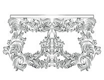 Rich Baroque commode Table with drawers. French Luxury rich carved ornaments decorated furniture. Vector Victorian Royal Style table furniture Royalty Free Stock Photography