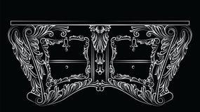 Rich Baroque-ladenkastlijst met laden Stock Afbeeldingen