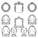 Rich Baroque Rococo armchair and dressing table set. French Luxury carved ornaments furniture. Vector Victorian. Exquisite Style decorated wooden structure Stock Photo