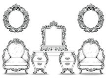 Rich Baroque Rococo armchair and dressing table set. French Luxury carved ornaments furniture. Vector Victorian Royalty Free Stock Image