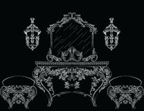 Rich Baroque Rococo furniture Stock Images