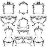 Rich Baroque Rococo furniture and frames set. French Luxury carved ornaments. Vector Victorian exquisite Style decorated Royalty Free Stock Image
