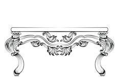 Rich Baroque Table Gli ornamenti scolpiti lusso francese hanno decorato la mobilia Stile reale vittoriano di vettore illustrazione di stock