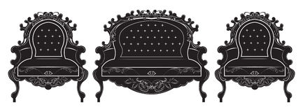 Rich Baroque upholstery furniture set Royalty Free Stock Photo