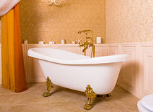 Rich bath with gold roll-tops in the form of paws. Rich bath with roll-tops in the form of animal paws and gold faucet in the bathroom. Luxury sanitary equipment stock image