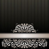Rich black Background with silver Ribbon and royal Border. Royalty Free Stock Photos